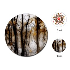 Fall Forest Artistic Background Playing Cards (round)