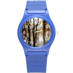 Fall Forest Artistic Background Round Plastic Sport Watch (S)
