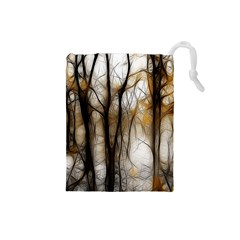 Fall Forest Artistic Background Drawstring Pouches (Small)