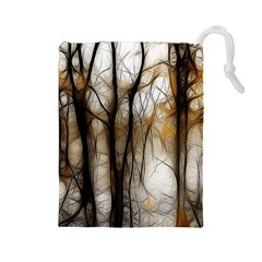 Fall Forest Artistic Background Drawstring Pouches (Large)