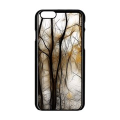 Fall Forest Artistic Background Apple iPhone 6/6S Black Enamel Case