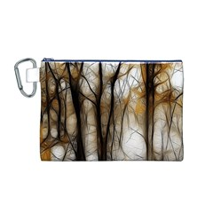 Fall Forest Artistic Background Canvas Cosmetic Bag (M)
