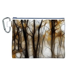 Fall Forest Artistic Background Canvas Cosmetic Bag (l)