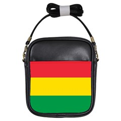 Rasta Colors Red Yellow Gld Green Stripes Pattern Ethiopia Girls Sling Bags