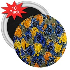 Floral Pattern Background 3  Magnets (10 pack)