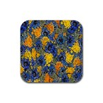 Floral Pattern Background Rubber Square Coaster (4 pack)  Front