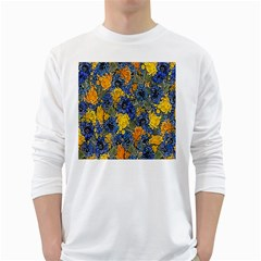 Floral Pattern Background White Long Sleeve T Shirts