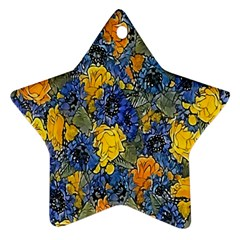 Floral Pattern Background Star Ornament (two Sides)