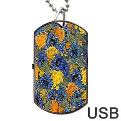 Floral Pattern Background Dog Tag USB Flash (One Side)