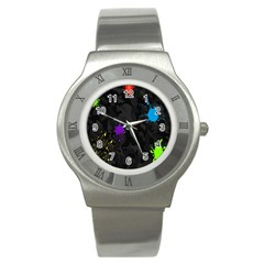 Black Camo Spot Green Red Yellow Blue Unifom Army Stainless Steel Watch
