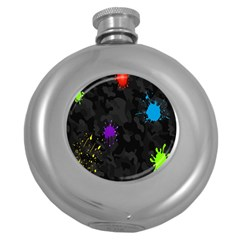 Black Camo Spot Green Red Yellow Blue Unifom Army Round Hip Flask (5 Oz)