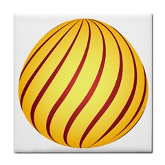 Yellow Striped Easter Egg Gold Tile Coasters