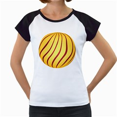 Yellow Striped Easter Egg Gold Women s Cap Sleeve T