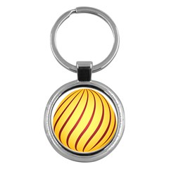 Yellow Striped Easter Egg Gold Key Chains (round)