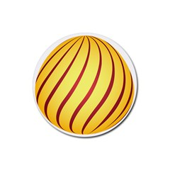 Yellow Striped Easter Egg Gold Rubber Coaster (round)