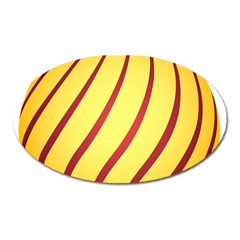 Yellow Striped Easter Egg Gold Oval Magnet