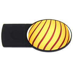 Yellow Striped Easter Egg Gold Usb Flash Drive Oval (4 Gb)