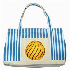 Yellow Striped Easter Egg Gold Striped Blue Tote Bag
