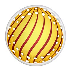 Yellow Striped Easter Egg Gold Round Filigree Ornament (two Sides)