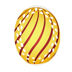 Yellow Striped Easter Egg Gold Ornament (oval Filigree)