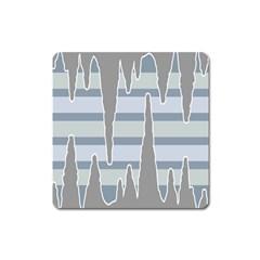 Cavegender Pride Flag Stone Grey Line Square Magnet