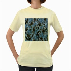 Floral Pattern Background Seamless Women s Yellow T-Shirt