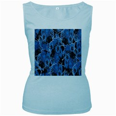 Floral Pattern Background Seamless Women s Baby Blue Tank Top
