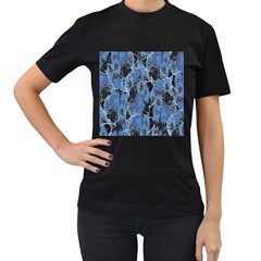 Floral Pattern Background Seamless Women s T-Shirt (Black) (Two Sided)