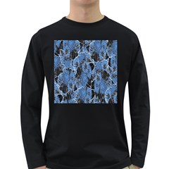Floral Pattern Background Seamless Long Sleeve Dark T Shirts