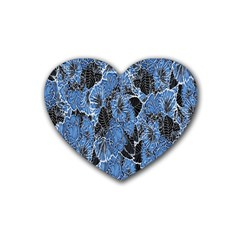 Floral Pattern Background Seamless Heart Coaster (4 Pack)