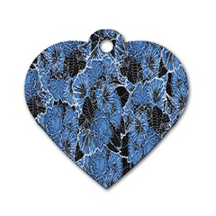 Floral Pattern Background Seamless Dog Tag Heart (two Sides)
