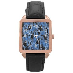 Floral Pattern Background Seamless Rose Gold Leather Watch
