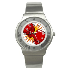 Boxing Gloves Red Orange Sport Stainless Steel Watch