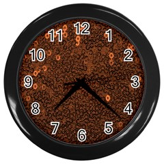 Brown Sequins Background Wall Clocks (Black)