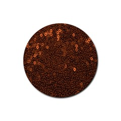 Brown Sequins Background Rubber Round Coaster (4 pack)