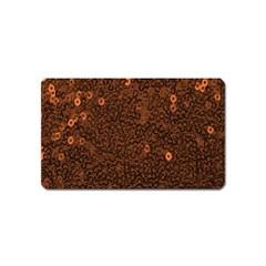 Brown Sequins Background Magnet (Name Card)