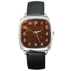 Brown Sequins Background Square Metal Watch
