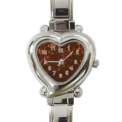 Brown Sequins Background Heart Italian Charm Watch