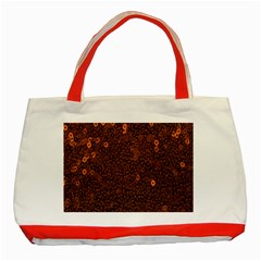 Brown Sequins Background Classic Tote Bag (red)