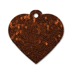 Brown Sequins Background Dog Tag Heart (one Side)