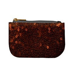 Brown Sequins Background Mini Coin Purses