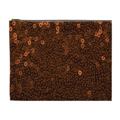 Brown Sequins Background Cosmetic Bag (xl)