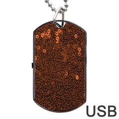 Brown Sequins Background Dog Tag USB Flash (Two Sides)