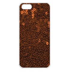 Brown Sequins Background Apple iPhone 5 Seamless Case (White)