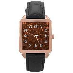 Brown Sequins Background Rose Gold Leather Watch