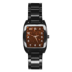 Brown Sequins Background Stainless Steel Barrel Watch