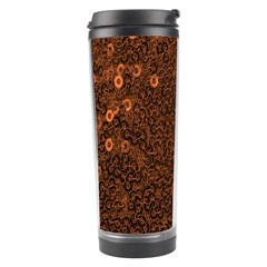 Brown Sequins Background Travel Tumbler