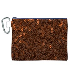 Brown Sequins Background Canvas Cosmetic Bag (XL)