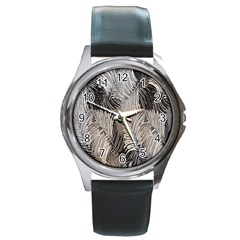 Floral Pattern Background Round Metal Watch