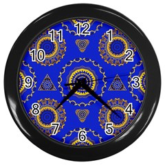 Abstract Mandala Seamless Pattern Wall Clocks (black)
